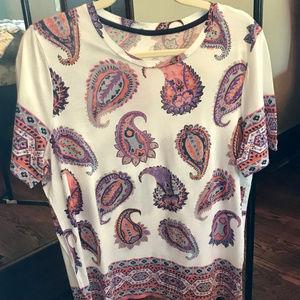 Tory Burch Paisley t-shirt, size Large